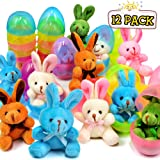 Easter Egg Fillers 【24Pcs】12 Pack Easter Bunnies with 12 Surprise Eggs for Easter Hunting Girls and Boys Eater Gifts Easter Party Favors