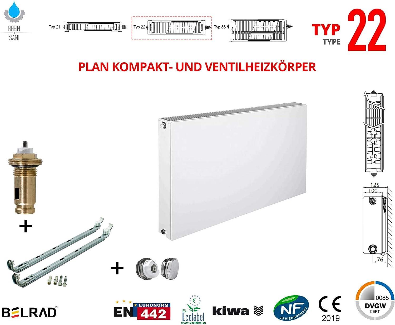 Planheizk/örper Mittelanschluss Kompakt /& Ventilheizk/örper Typ 22 33 /& Halter /& Ventil NEU Typ22 600x1400