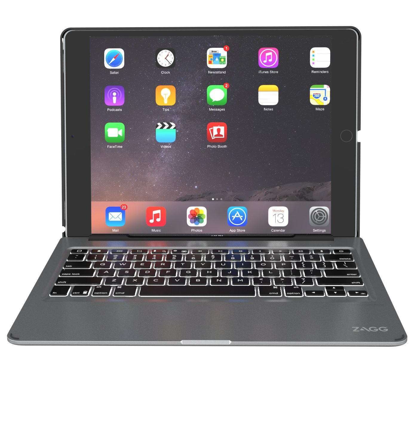ZAGG Slim Book Ultrathin Case, Hinged with Detachable Backlit Keyboard for iPad Pro 12.9 - Black by ZAGG