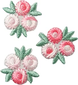Wrights Pink and White Flower Applique Clothing Iron On Patches, 3pc, 3/4''