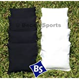 Weather Resistant Cornhole Bags Set - 4 White & 4 Black