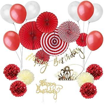 Easy Joy Decoration Anniversaire Rouge et Blanc Ballon Deco Rosace