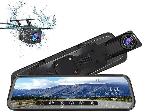 con Sistema di Monitoraggio Inverso Telecamera per Auto da 10 pollici Touchscreen Full HD 1080P AWESAFE Dash Cam Mirror Dash Cam Doppia Grandangolare Anteriore e Telecamera Posteriore impermeabile