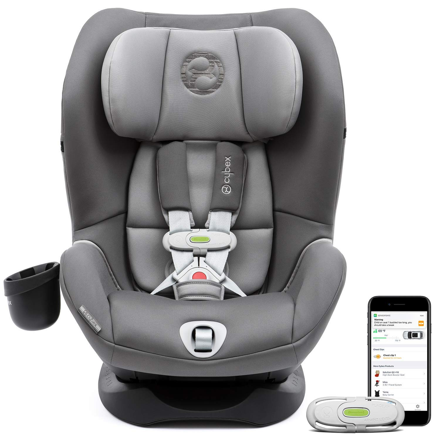 CYBEX Sirona M with SensorSafe Convertible Car Seat, 5-Point Harness Chest Clip with Built-in Sensor, LSP Linear Side-Impact Protection, Latch System, Fits Infants and Toddlers from 5-65 lbs
