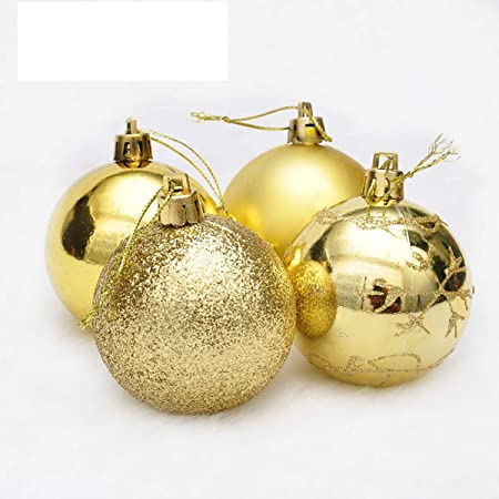 Solmore 4pcs 6cm Painted Gold Powder Mixed Type Christmas Light Ball Painted San Ball Decorative Gift Godld-C