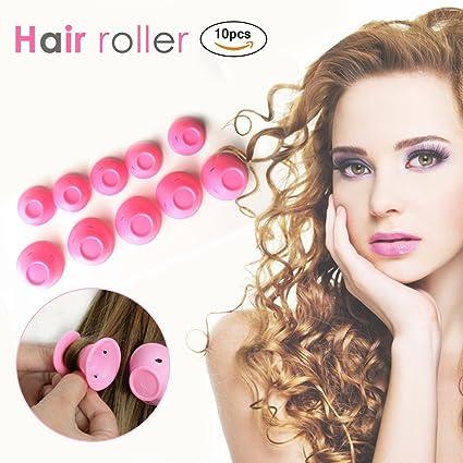 Rizador de Pelo Silicona Rodillos Cabello Rizado Rosa Magic Cuidado del Cabello Rizadores Sin Calor -