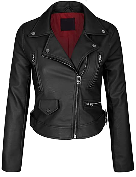 Kogmo Women's Faux Leather Zip Up Everyday Bomber Jacket at Amazon ...
