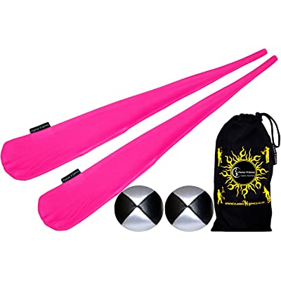 Flames N Games Sock Poi Set (PINK) Pair of Quality Stretchy Lycra Spinning Poi Socks + 2x90g Balls & Travel Bag.: Toys & Games