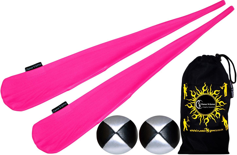 Flames N Games Sock Poi Set (PINK) Pair of Quality Stretchy Lycra Spinning Poi Socks + 2x90g Balls & Travel Bag.