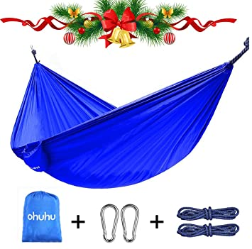 ohuhu portable nylon fabric travel camping hammock 600 pound capacity blue amazon    ohuhu portable nylon fabric travel camping hammock      rh   amazon