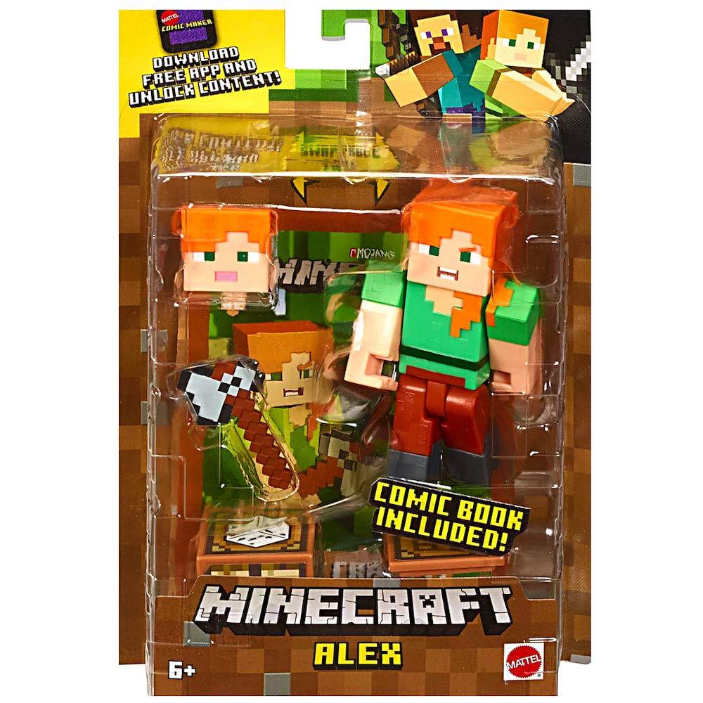 Amazon com: Alex with Axe Minecraft Action Figure 3