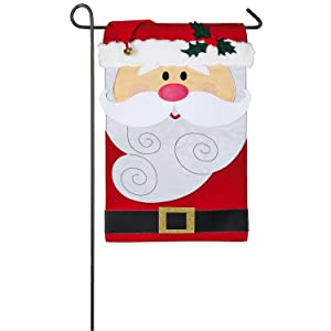 Evergreen Santa Claus Outdoor Safe Double-Sided Applique Garden Flag, 12.5 x 18 inches