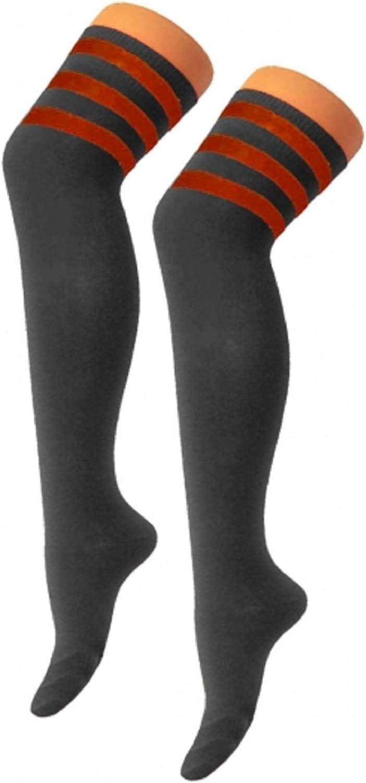 Oromiss Womens Ladies arbitro a strisce sopra il ginocchio Alta Calze Cotone Sport Celebrity Fancy Dress