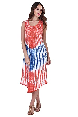 676dbf7b26d Pistachio Womens Tie Dye Cotton Sumer Midi Beach Dress at Amazon ...