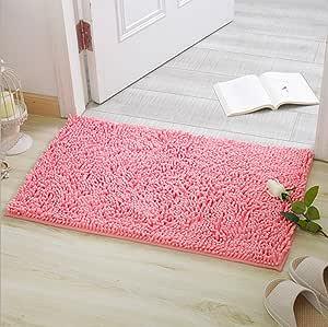 Alfombras de Baño, Alfombrilla de Baño Antideslizante Microfibra Suave Alfombra Lavar a Maquina Adecuado para Sala de Estar/Cocina / Dormitorio de Interior/Exterior (Rosa)