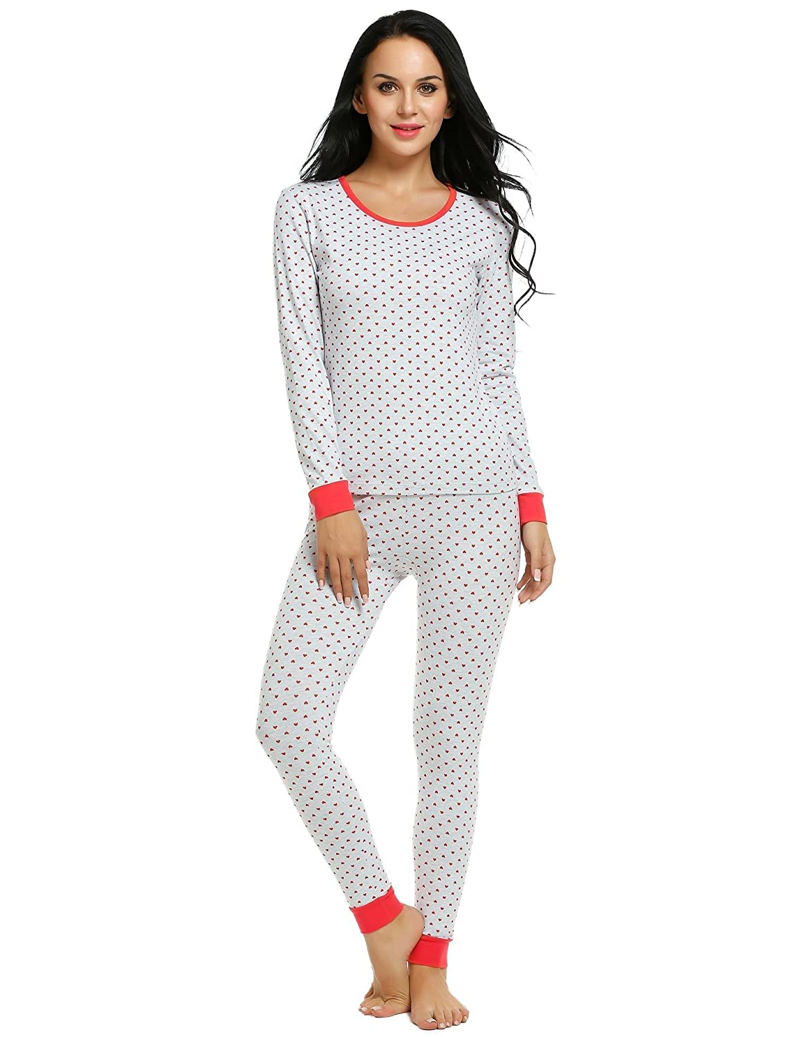 Ekouaer Pajama Sets Womens Fitted 2 Pcs Cotton Pjs Long Top   Pant Sleepwear  Set S-XXL at Amazon Women s Clothing store  438b13c91