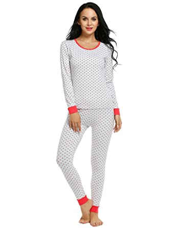77970b471c4288 Ekouaer Pjs Set Womens Lightweight Pyjamas Stripe 2 PC Sleepwear Underwear  (Red, Large)