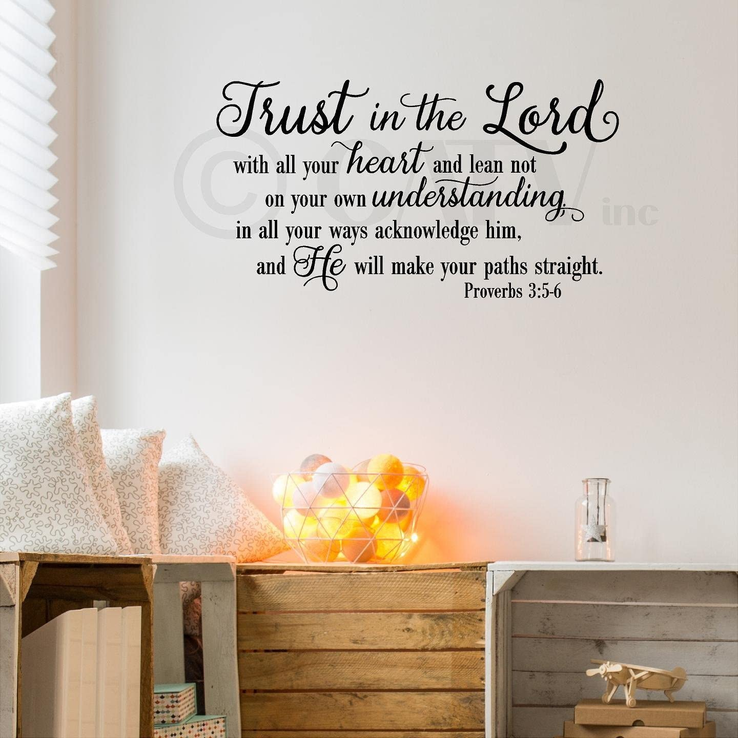 """Trust in the Lord With All Your Heart..Proverbs 3:5-6 Vinyl Lettering Wall Decal Sticker (16.5""""H x 30""""L, Black)"""