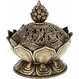 vientiane Lotus Form Räuchergefäß, Mini Metall Aromatherapie Halter Weihrauchbrenner, Herd Rückfluss Räuchergefäß für Dekoration Geschenk Zubehör