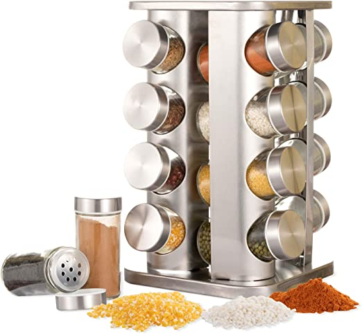 KITCHEN HOME 16 PCS GLASS SPICE JAR REVOLVING RACK SET COOKING CHEF FOOD NEW
