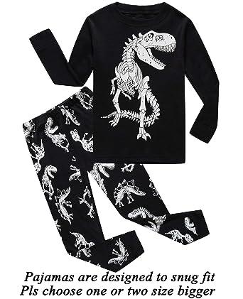 735e8aa55ead Amazon.com  Boys Pajamas Long Sleeve Toddler Clothes Set Dinosaur ...