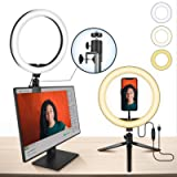 10' Laptop Ring Light MACTREM Ring Light with Tripod, Clamp & Phone Holder for YouTube Video, Makeup, Selfie…