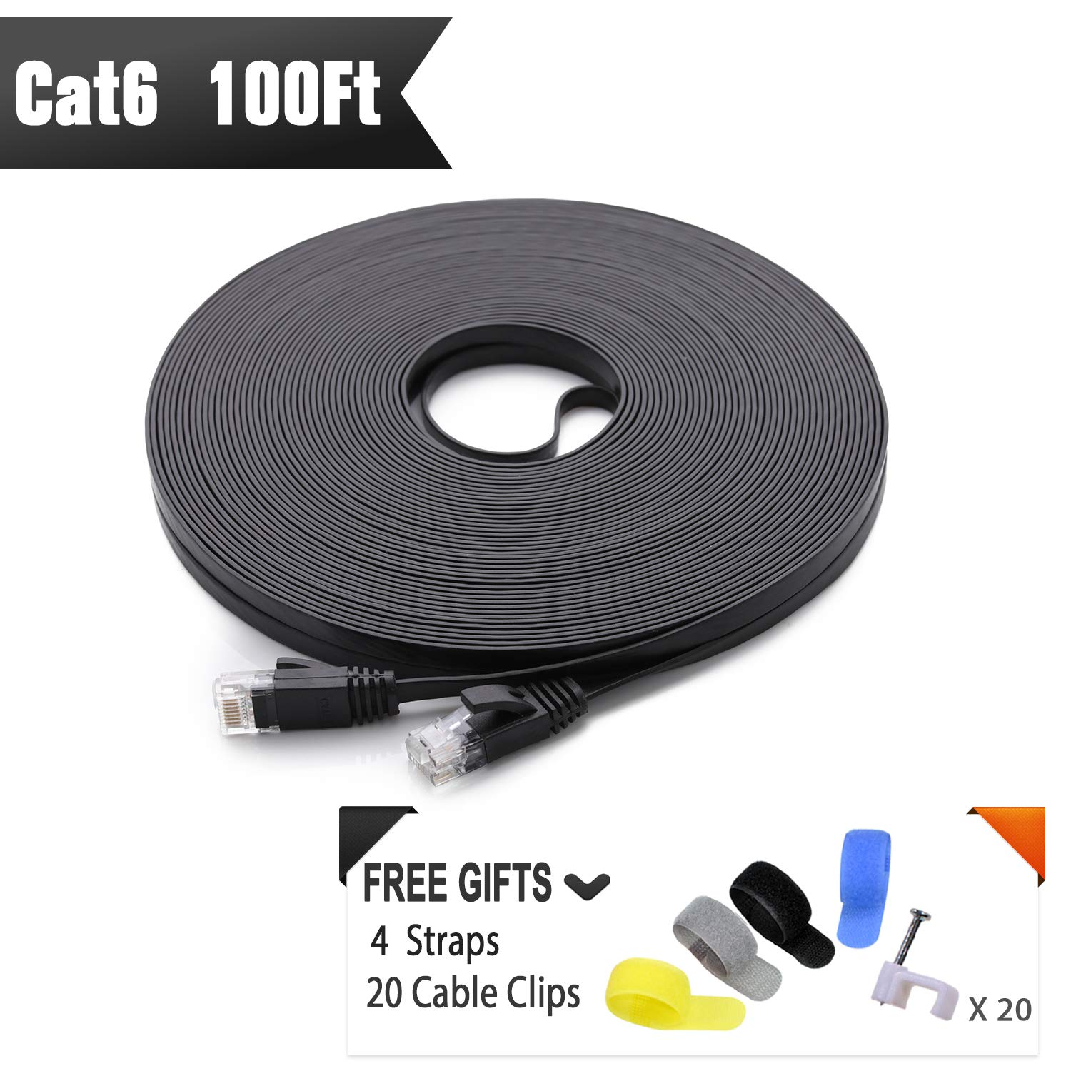 Cat 6 Ethernet Cable 100 ft (at a Cat5e Price but Higher Bandwidth) Flat Internet Network Cable - Cat6 Ethernet Patch Cable Short - Black Computer LAN Cable + Free Cable Clips and Straps by CableGeeker