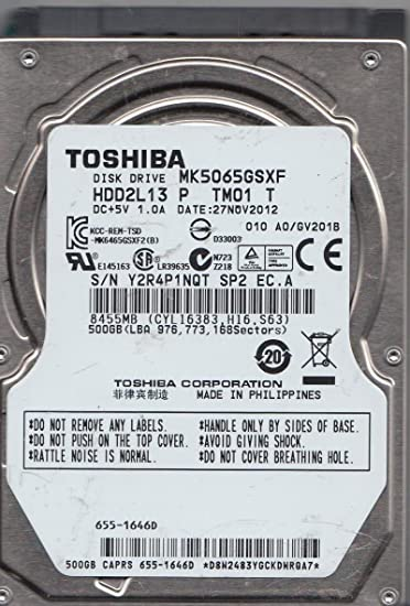 Amazon. Com: -toshiba mk5065gsxf 500 gb sata 2. 5-inch internal hard.