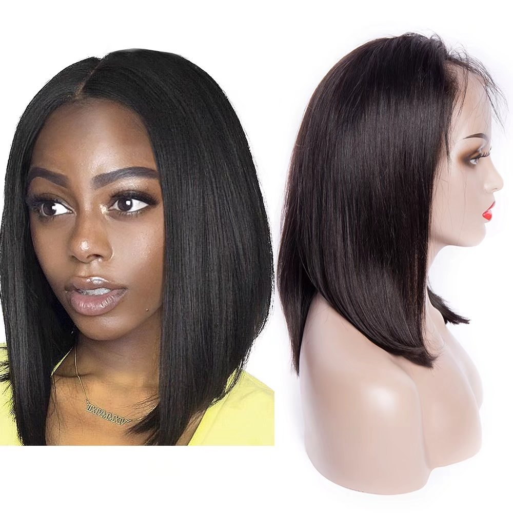Maxine 9A Virgin Human Hair Lace Front Wig Brazilian Remy Human Hair Straight Hair Lace Wigs with Baby Hair Pre Plucked Wigs For Women 250% Density Silky& Smooth Hair Naturl Color 16inch Guangxun Company
