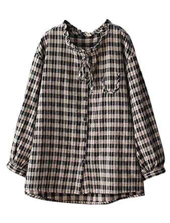 a5b0e6c6607 Minibee Womens Button Down Stripe Long Sleeve Blouses Loose Plaid Cotton Linen  Shirt A-line