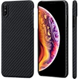"iPhone Xs Max Case,PITAKA Magcase Aramid Fiber 6.5 Inch [Real Body Armor Material] Phone Case,Slim Fit Minimalist Strongest Durable Snugly Fit Snap-on Case for iPhone Xs Max 6.5""-Black/Grey(Twill)"