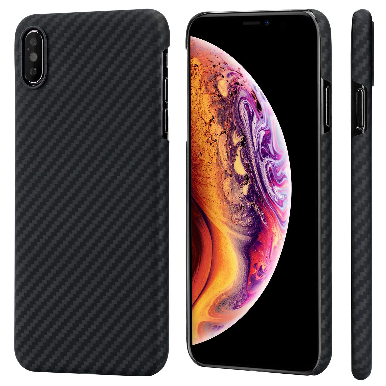 PITAKA Slim Case Compatible with iPhone Xs Max 6.5'', MagCase Aramid Fiber [Real Body Armor Material] Phone Case,Minimalist Strongest Durable Snugly Fit Snap-on Case - Black/Grey(Twill) by PITAKA