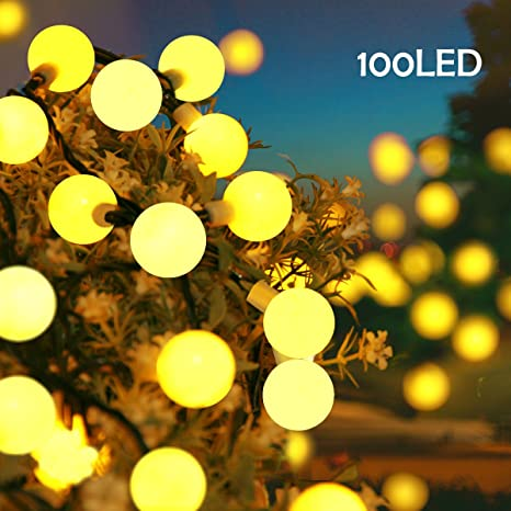 lalapao globe string lights outdoor christmas decorations 100 led battery operated ball lights waterproof fairy lighting - Yellow Christmas Decorations