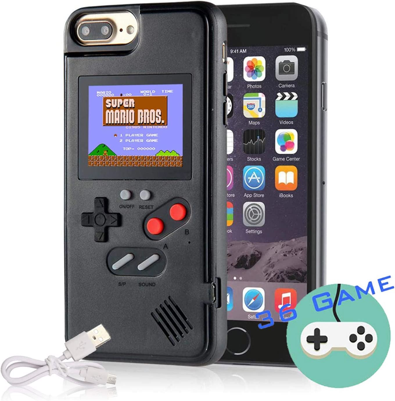 Gameboy Case for iPhone, Autbye Retro 3D Phone Case Game Console with 36 Classic Game, Color Display Shockproof Video Game Phone Case for iPhone (for iPhone 6/6s/7/8, Black)