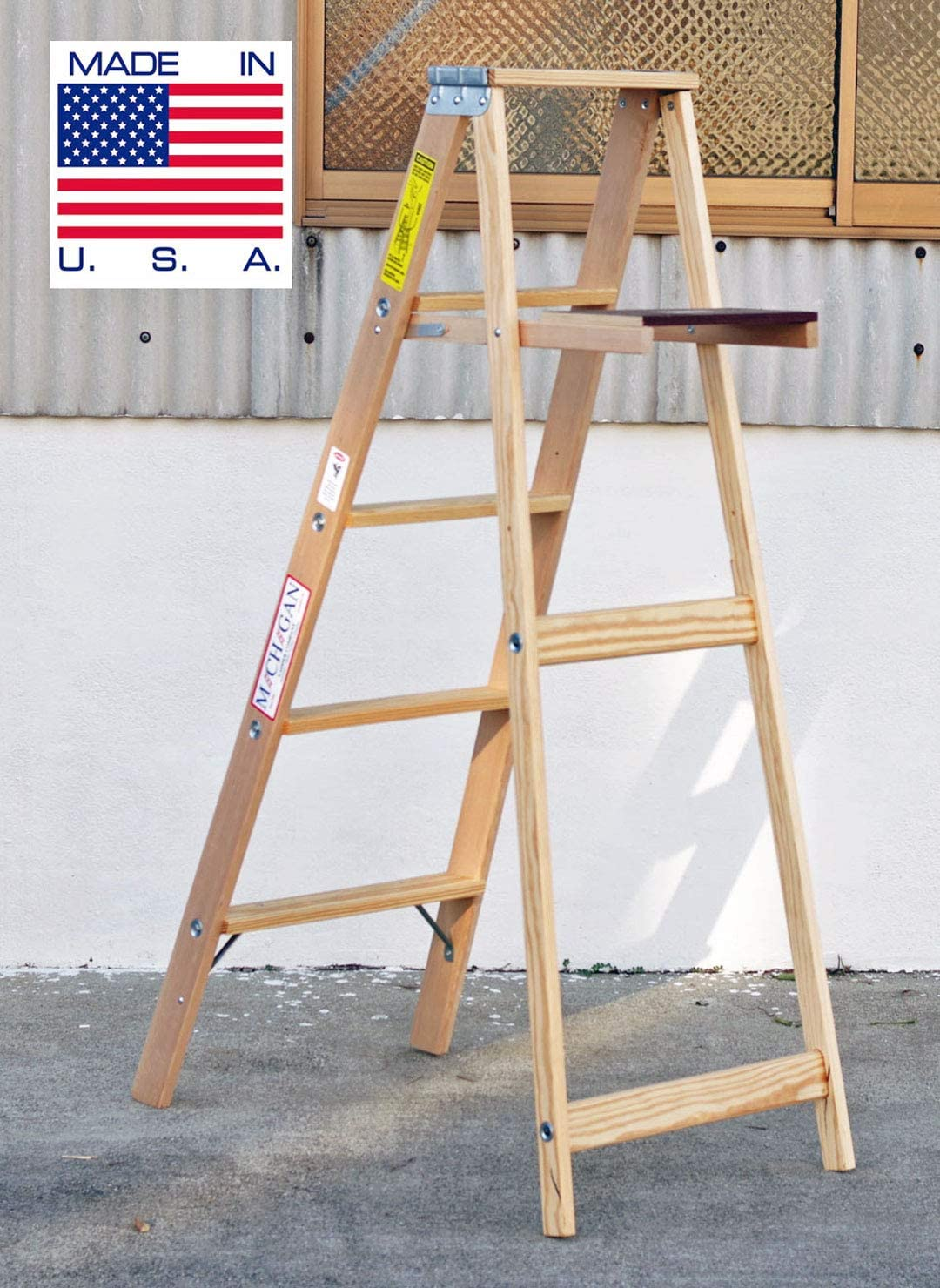 5 Ft Wood Step Ladder With 200 Lb Load Capacity Step Ladder Amazon Com