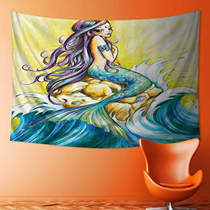 Also Easy Wall Tapestries Mermaid Sitting Rock Sunny Colored Pencil
