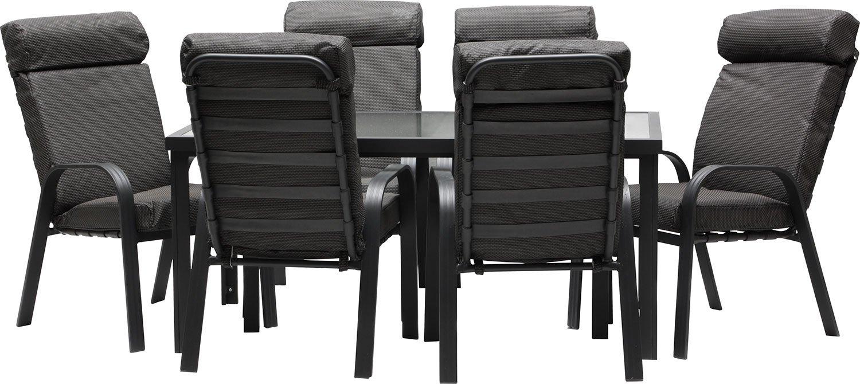 IB-Style - MADEIRA Alu Gartenmöbel 13-Teilig |6 Stapelstühle inkl. starke Sitzpolster | Gartentisch Aluminium /Sicherheitsglas | Komfortabele Gartengruppe Gartengarnitur Sitzgruppe Gartenmöbel Set
