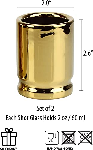 Set of 2 Shot Glasses Shaped like 50 Caliber Bullet Casings