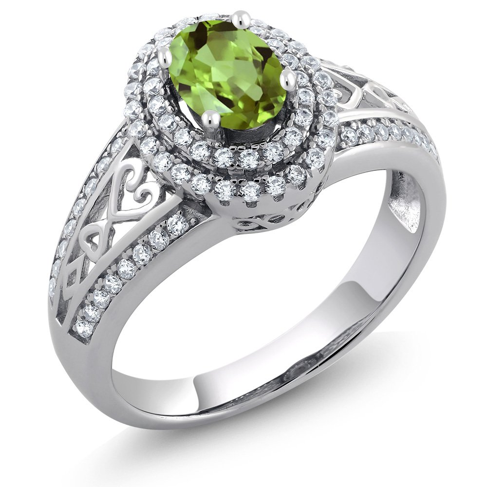 925 Sterling Silver Green Peridot Women's Ring 1.36 Cttw Gemstone Birthstone (Size 7)