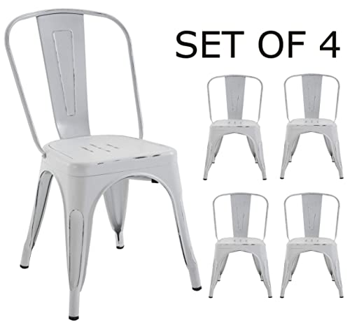 BTEXPERT Bistro Cafe Dining Side Chairs Set of 4 White Distressed Chic Indoor Outdoor , Antique
