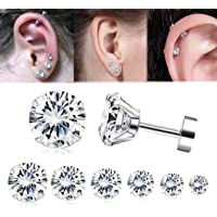 Yadoca 7 Pairs 20G(0.8 MM) Stainless Steel Zircon Cartilage Earrings for Men Women Tragus Stud Earrings Shiny CZ 2-8 MM