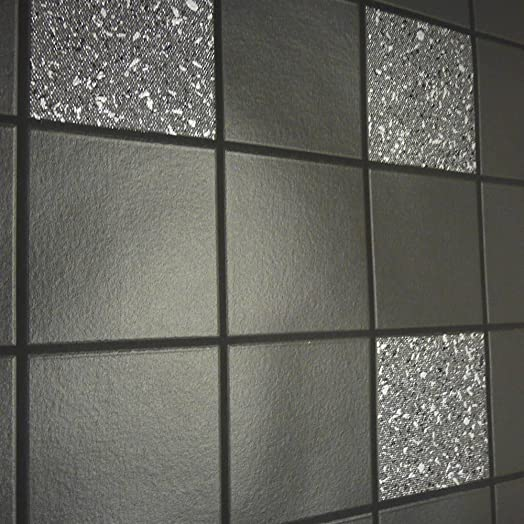 Holden Decor Tiling on a Roll Kitchen & Bathroom Heavy Weight Vinyl  Wallpaper Granite Black 89130