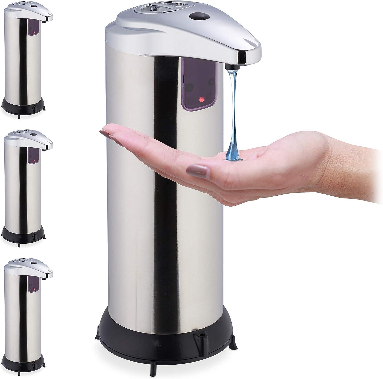 Bad Handseifenspender mit Sensor Silber ber/ührungslos Relaxdays Seifenspender automatisch K/üche 250 ml Edelstahl