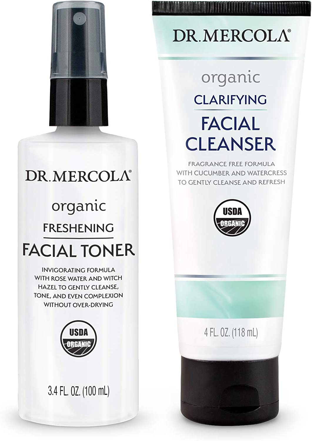 Dr. Mercola Organic Cleanse & Tone Skincare Set, Non GMO, Gluten Free, Soy Free, Organic Leaping Bunny Certified