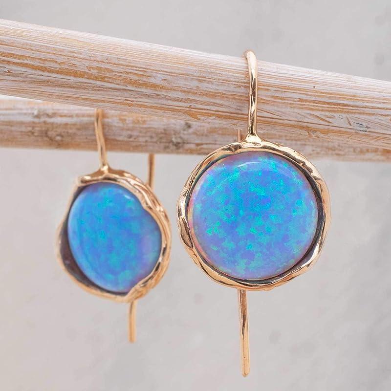 Gold Earrings Dangle Blue Earrings Gold Drop Earrings Gemstone Earrings Opal Earring Fine Jewelry Opal Gold Earrings Gold Earrings