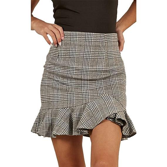 Honghu Falda Minifalda con Volantes a Cuadros y Cintura Alta Mujer ...