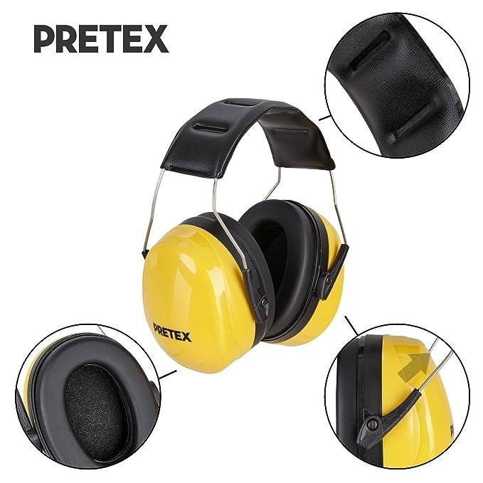 pretex profesional Protector auditivo con SNR 31 Db, gran comodidad, peso ligero, Diadema ajustable, certificación CE, protección auditiva, de oído ...