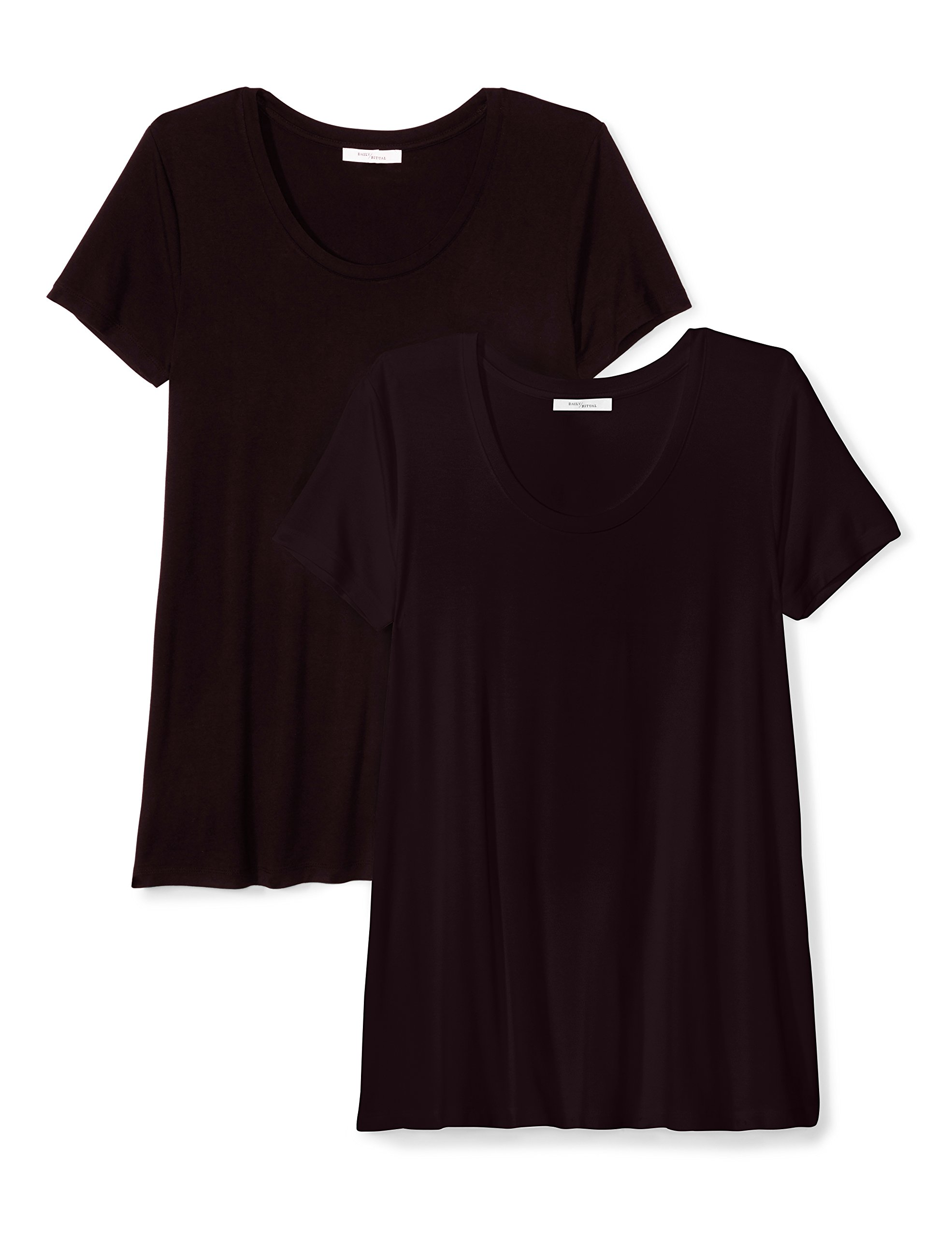 Daily Ritual Women's Standard Jersey Short-Sleeve Scoop Neck Swing T-Shirt, Black/Black, XXL