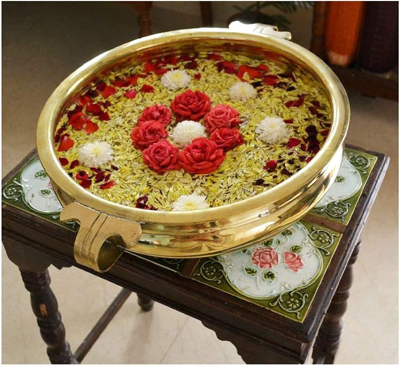 Craftsman Decorative Brass Urli Flower Candles Floating Bowing Brass Pot (Design 2-10 inch)