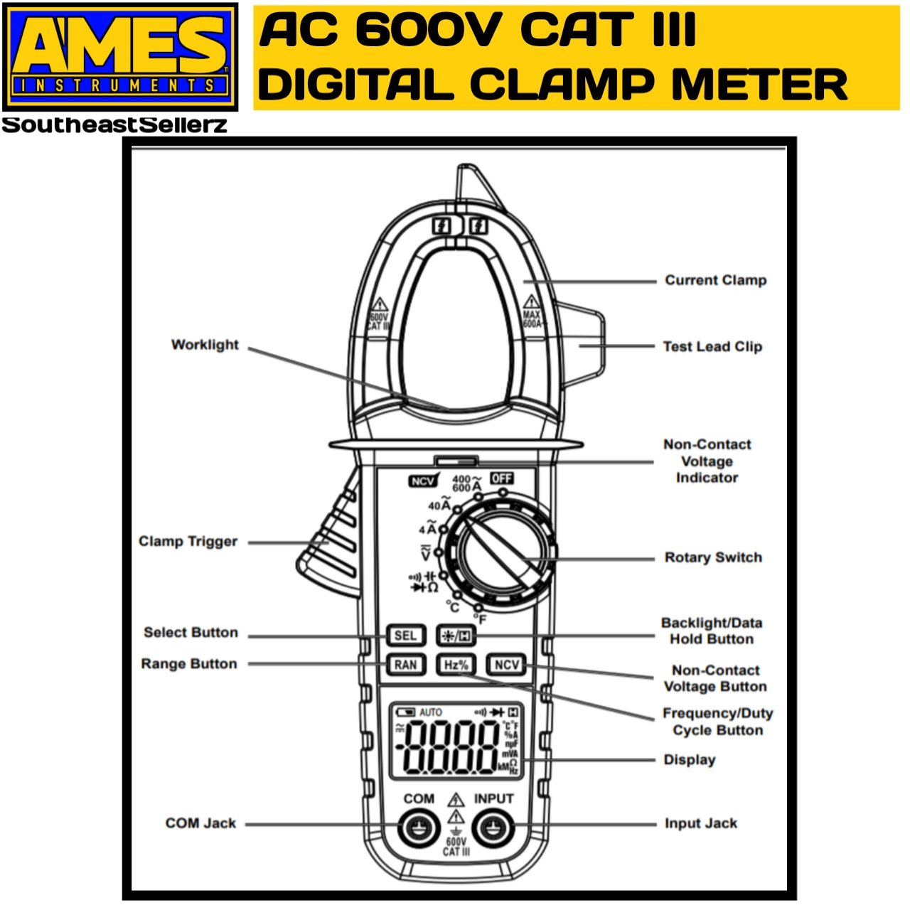 Ames 600A AC Clamp Meter - - Amazon.com